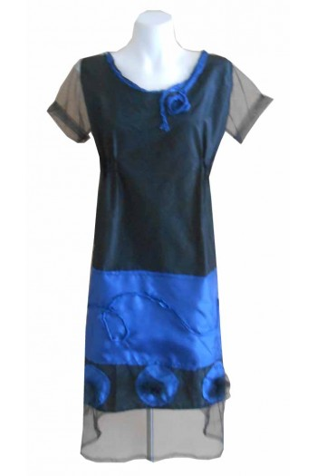 HARAH DESIGNS BLUE HIGH SHIFT DRESS