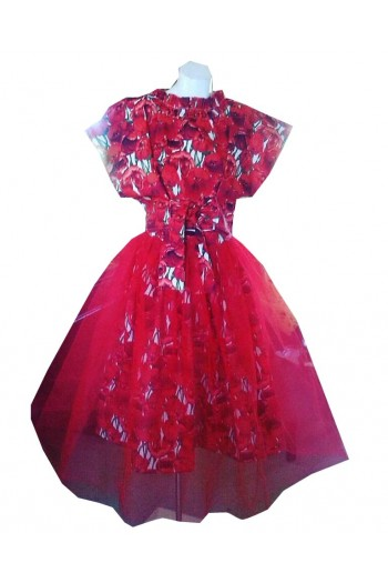 HARAH DESIGNS  READY TO ROLL RED TULLE AND COTTON FLORAL SKIRT AND TOP