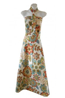 HARAH DESIGNS SUNRISE LINEN STRAPLESS DRESS AND TIE