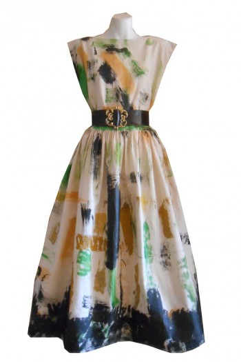 HARAH DESIGNS  HAND PAINTED  LINEN TEA TIME DRESS