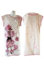 HARAH DESIGNS PINK POODLE HAND PAINTED LINEN SHIFT DRESS by maria smirlis